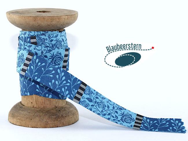 Blaubeerstern Webband Rosengarten blau