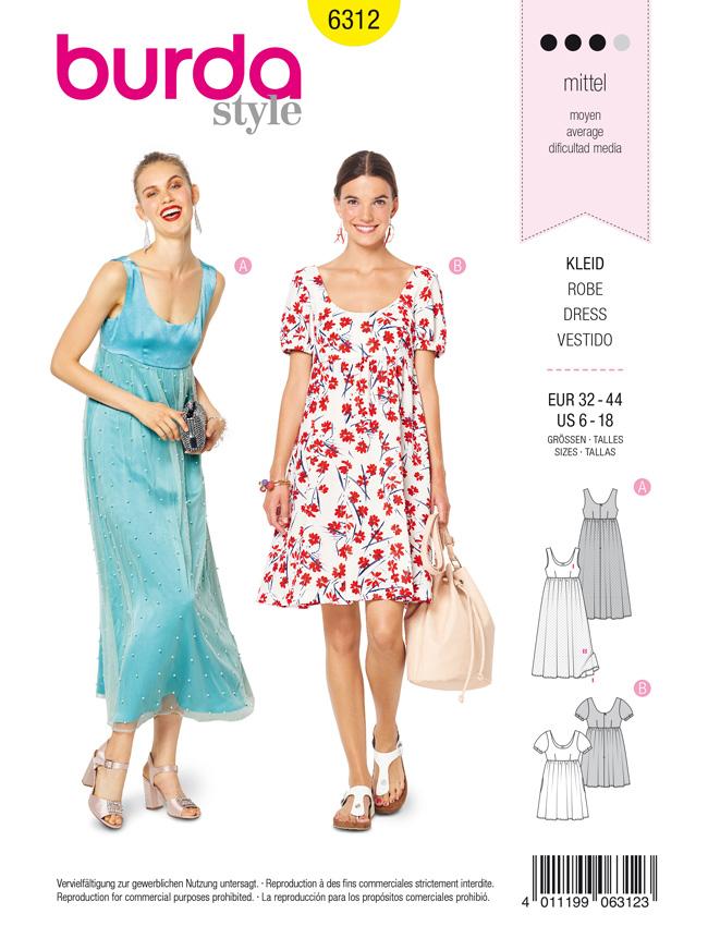 Schnittmuster Kleid burda 6312