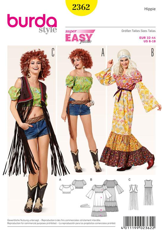 Schnittmuster Hippie 70er Jahre Kostüm Burda 2362 - Maschinensticken ...