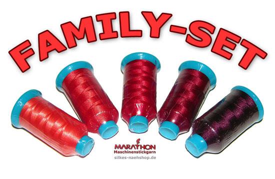 Produktfoto Maschinenstickgarn Family-Set rot