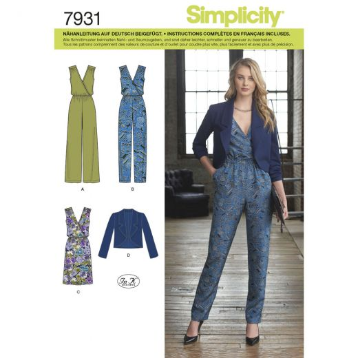 7931 Simplicity Schnittmuster Overall Kleid Jacke