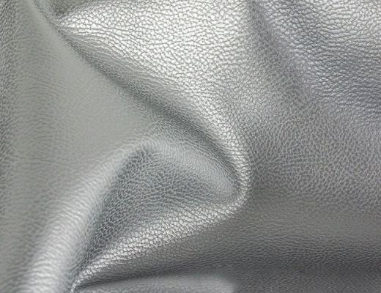 Rex Kunstleder genarbt Metallic Silber 50cm x 140cm