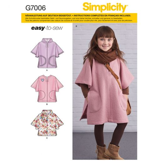 7006 Simplicity Schnittmuster Kinderponcho