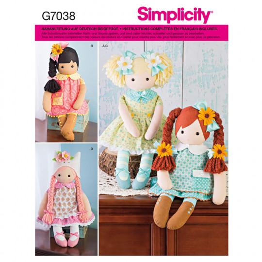 7038 Simplicity Schnittmuster Stoffpuppen