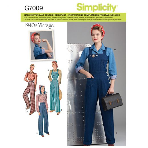 7009 Simplicity Schnittmuster Retro Work-Outfit 40er Jahre