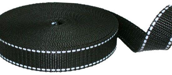 Gurtband mit Reflektorstreifen 25mm schwarz