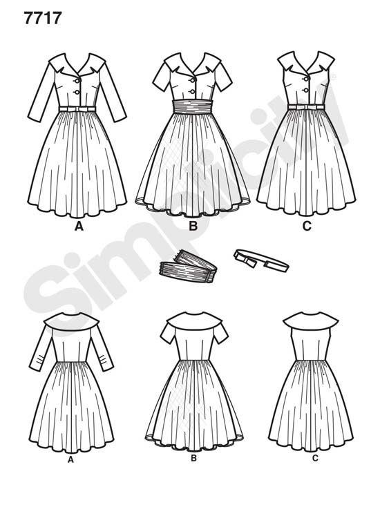 schnittmuster 50er jahre kleider simplicity vintage schnittmuster ...
