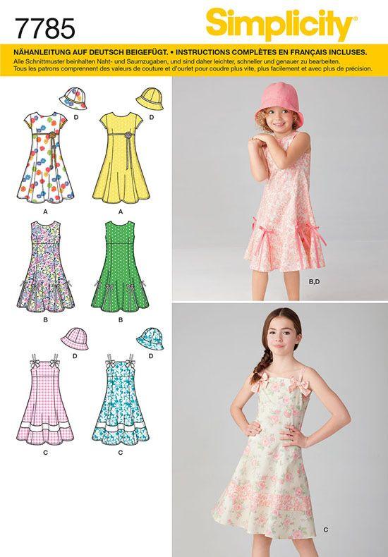 7785 Simplicity Schnittmuster Mädchenkleid mit Hut