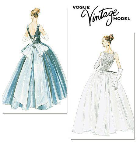 Vogue Schnittmuster Vintage Abendkleid V8729 - Maschinensticken ...
