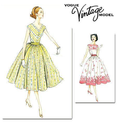 V8789 VOGUE Vintage Schnittmuster Kleid 50er Jahre