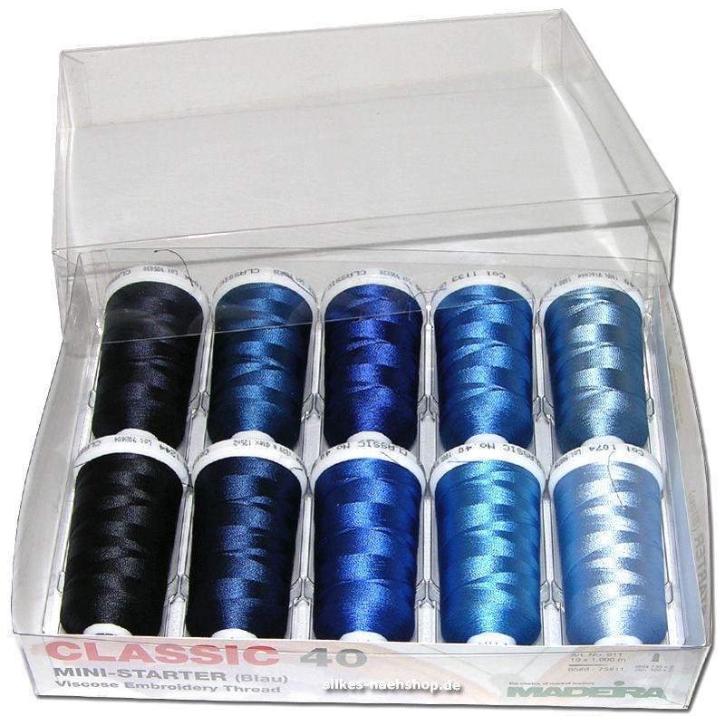 MADEIRA Maschinenstickgarn Set blau 10x 1000m