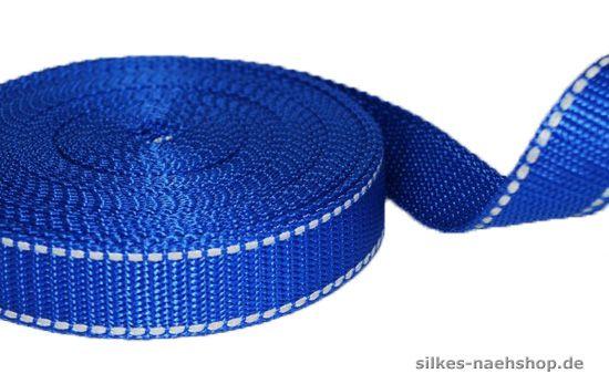 Gurtband mit Reflektorstreifen 25mm royalblau