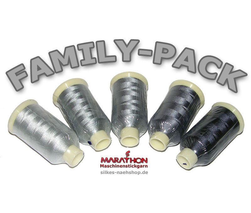 MARATHON Stickgarn Set Rayon FAMILY-PACK grau