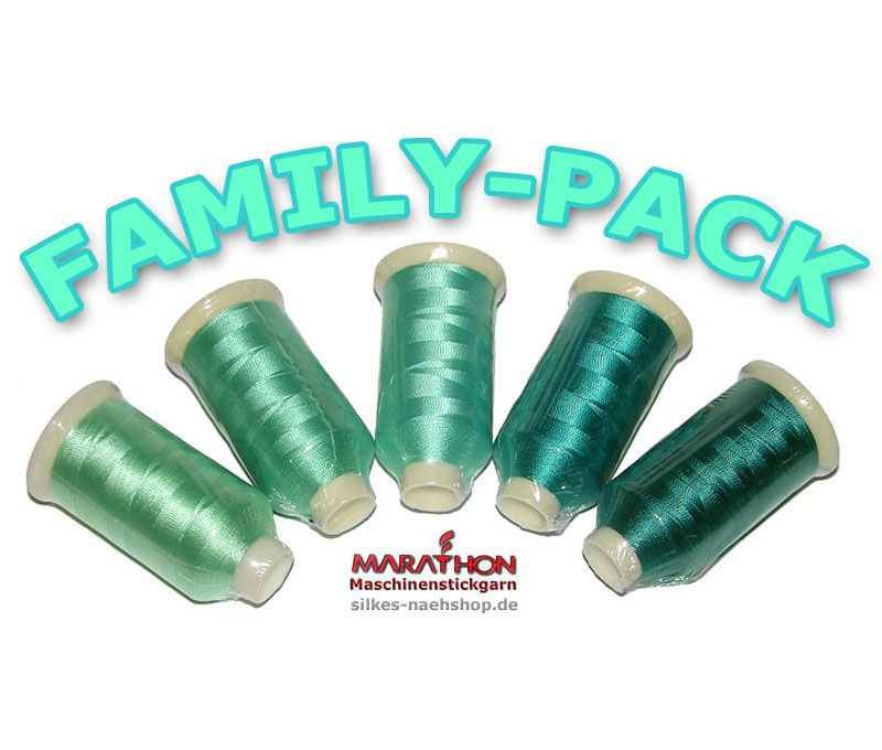 MARATHON Stickgarn Set Rayon FAMILY-PACK sea