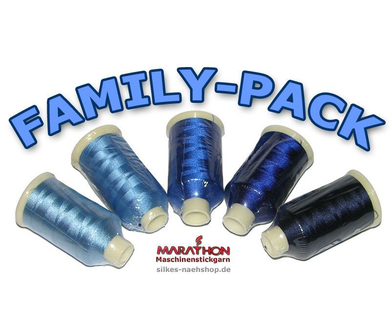 MARATHON Stickgarn Set Rayon FAMILY-PACK blau