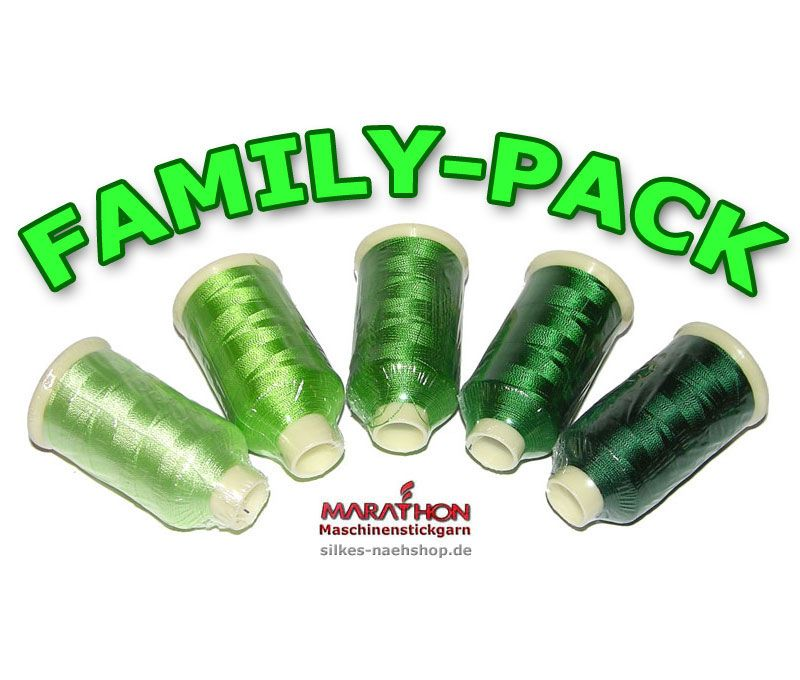 MARATHON Stickgarn Set Rayon FAMILY-PACK grün