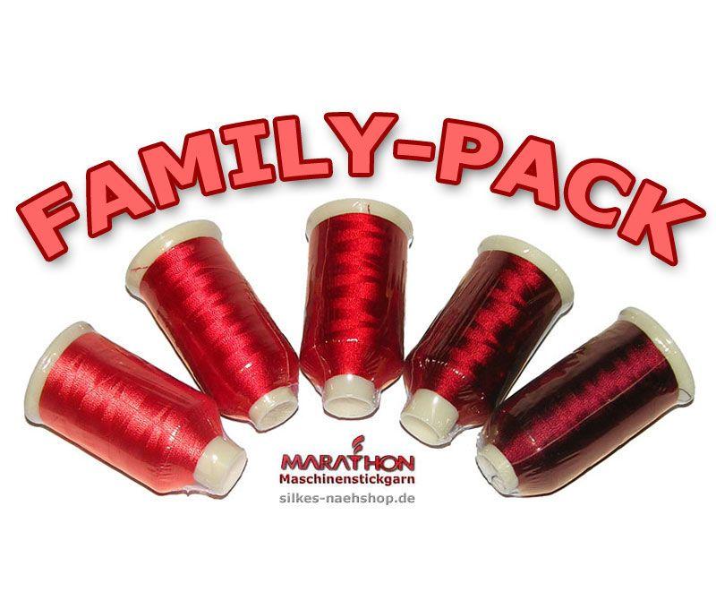 MARATHON Stickgarn Set Rayon FAMILY-PACK rot