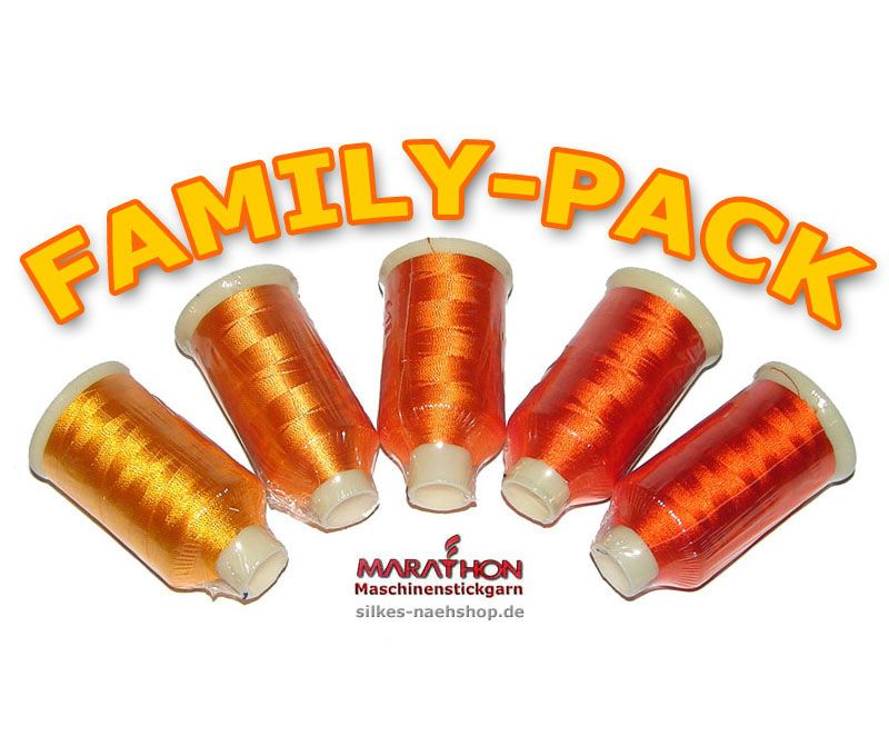 MARATHON Stickgarn Set Rayon FAMILY-PACK orange