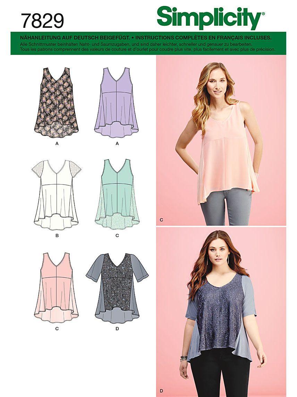 7829 Simplicity Schnittmuster Shirts Tops
