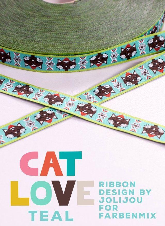 farbenmix Webband CAT LOVE TEAL von jolijou