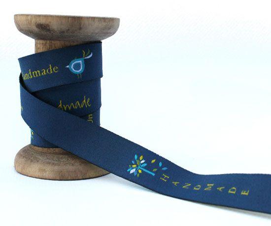 Blaubeerstern Handmade Webband Blattwerk nachtblau