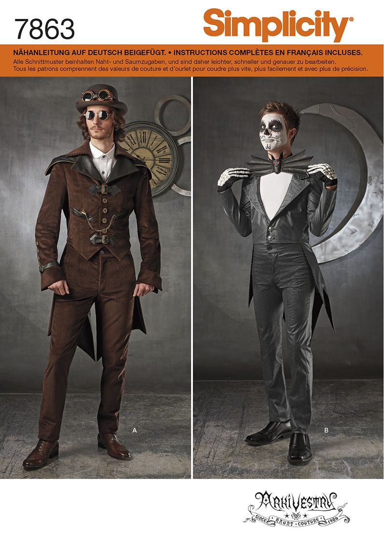7863 Simplicity Schnittmuster Herren Cosplay Kostüm