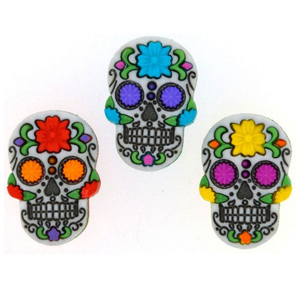 Dress It Up Knöpfe Sugar Skulls 3er-Pack