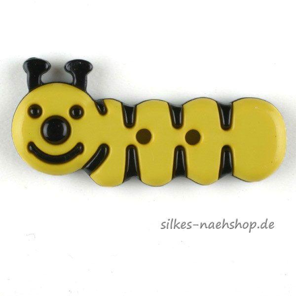 Kinderknopf Kleine Raupe gelb