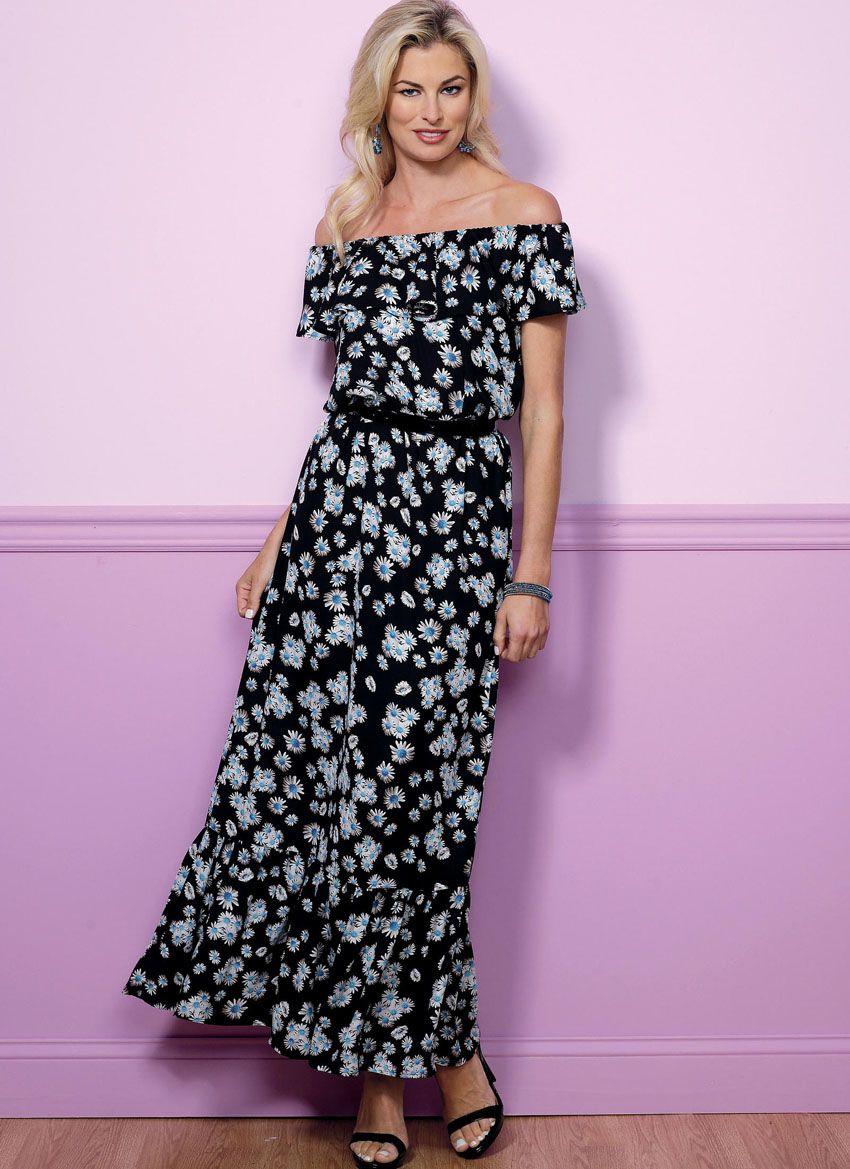 B6451 Butterick Schnittmuster Kleid Maxikleid EASY