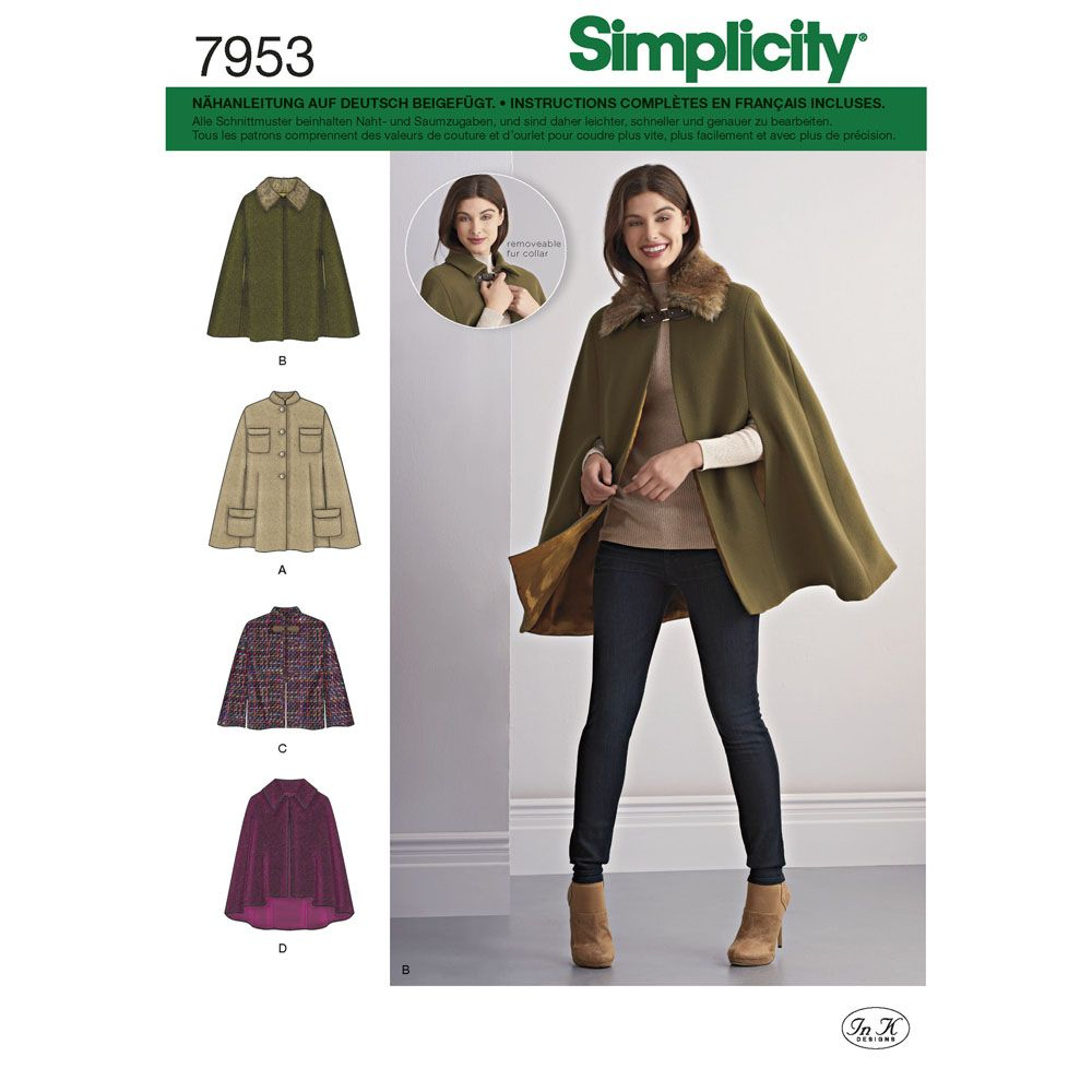7953 Simplicity Schnittmuster Poncho
