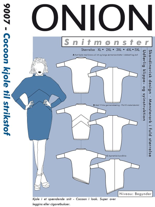 9007 ONION PLUS Schnittmuster Cocoon-Kleid XL-5XL
