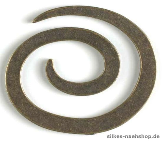 Metallknopf in Spiralenform 50mm altmessing