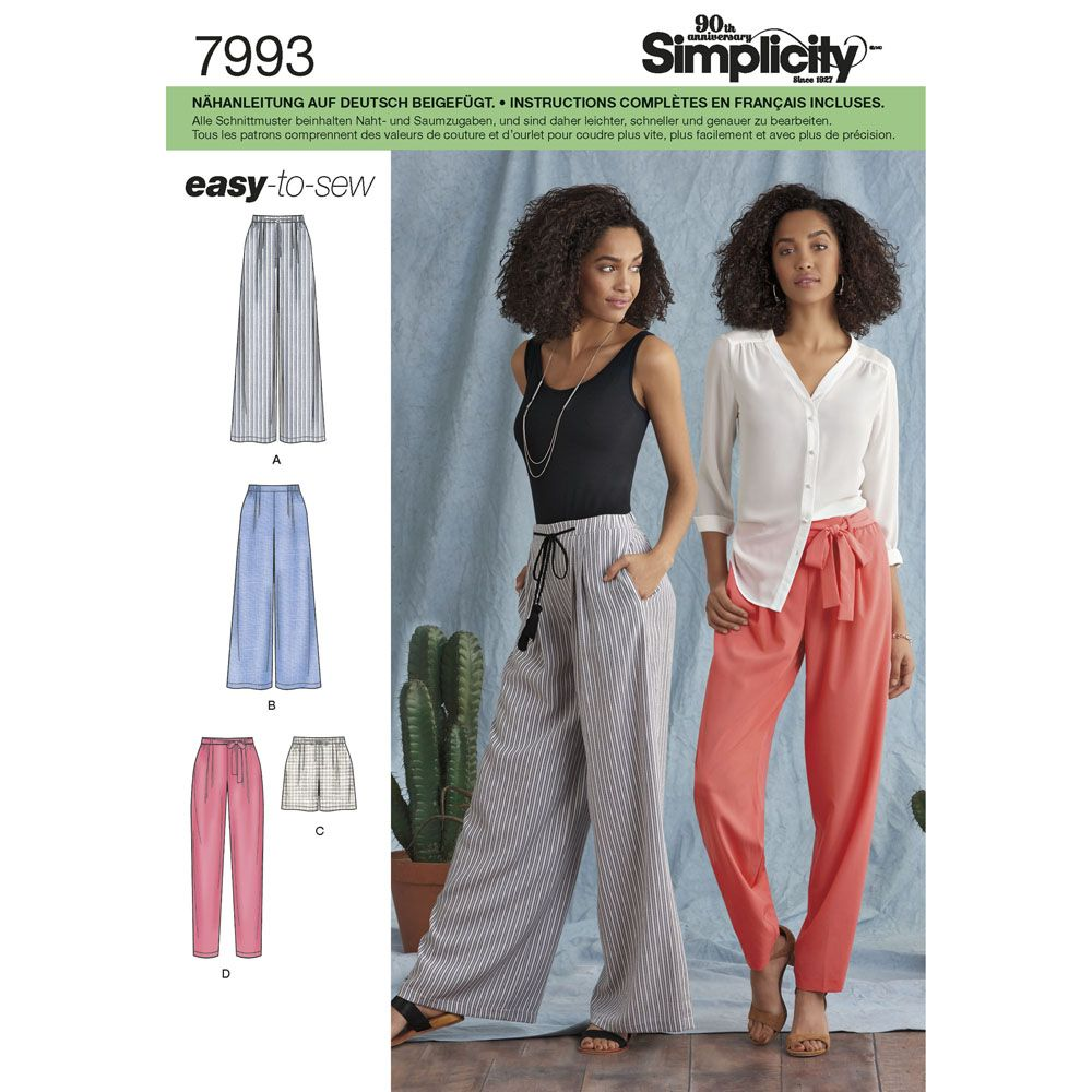 7993 Simplicity Schnittmuster Hose Shorts EASY