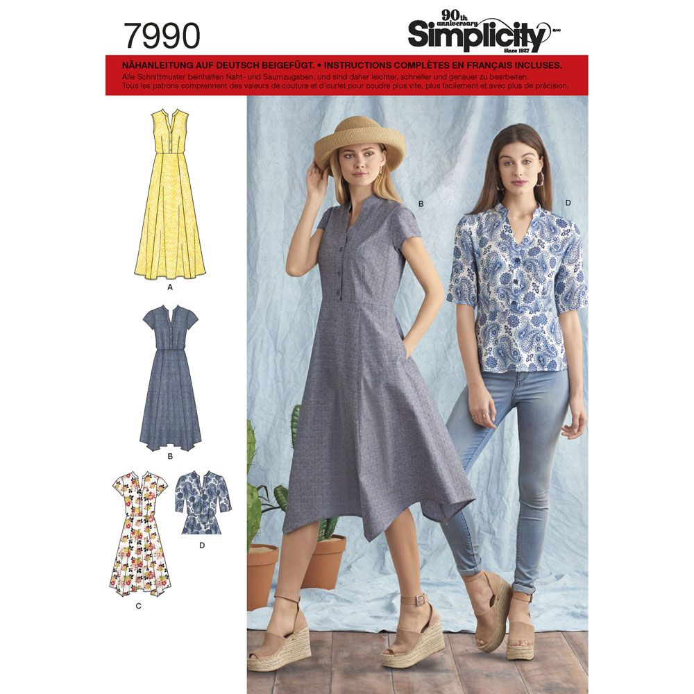 7990 Simplicity Schnittmuster Kleid Bluse