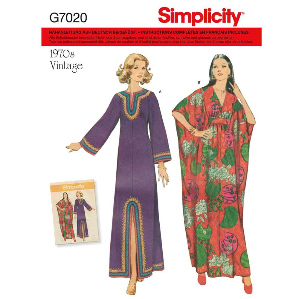 7020 Simplicity Schnittmuster Vintage Kaftan 70er Jahre