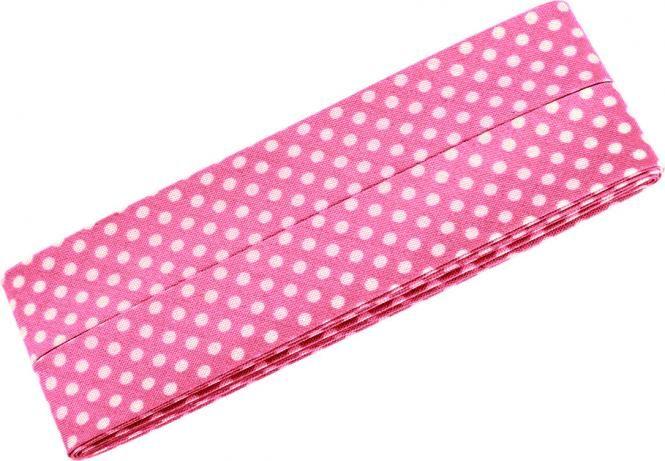 3m Schrägband mit Pünktchen rosa