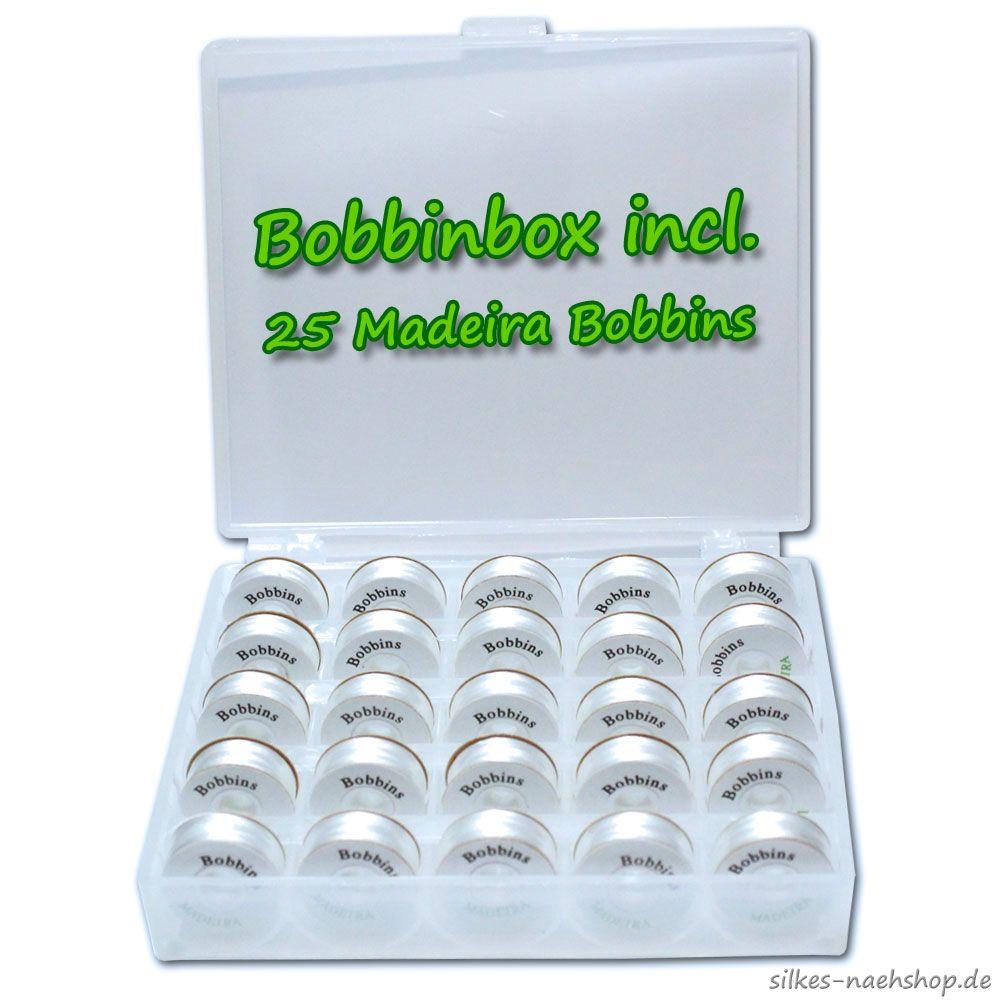 Bobbinbox incl. 25 Madeira Bobbins weiß