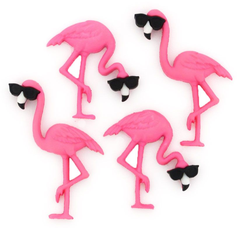 Dress it up Knöpfe Think Pink Flamingos