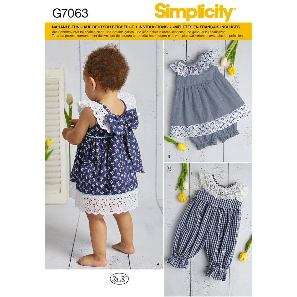7063 Simplicity Schnittmuster Baby Kombination