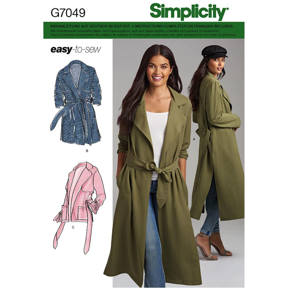 7049 Simplicity Schnittmuster Duster Mantel EASY!