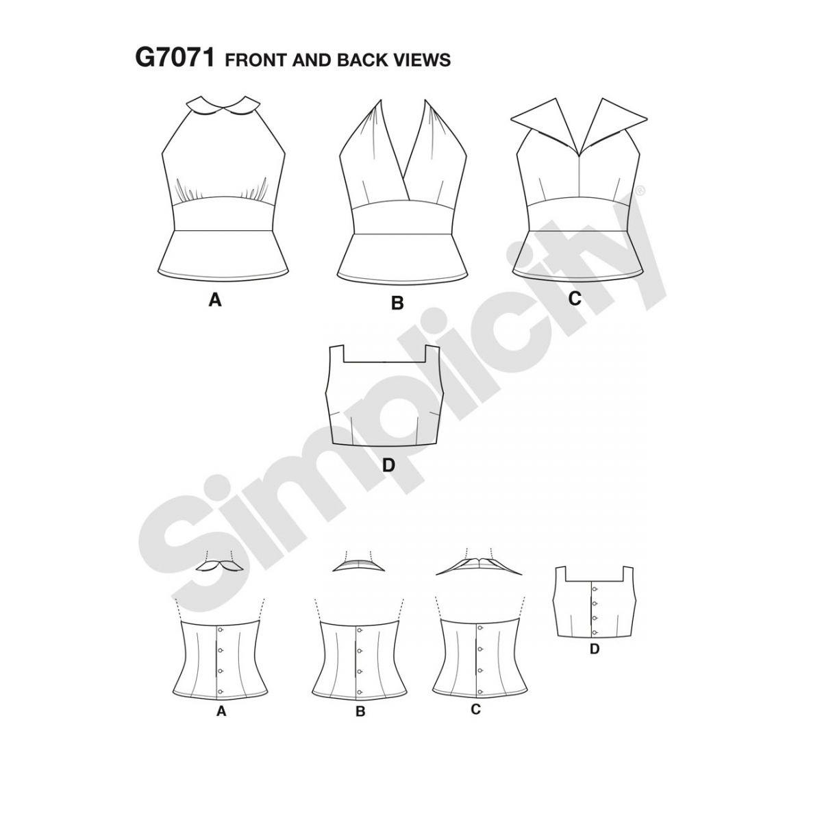7071 Simplicity Schnittmuster Vintage Blusen 50er Jahre