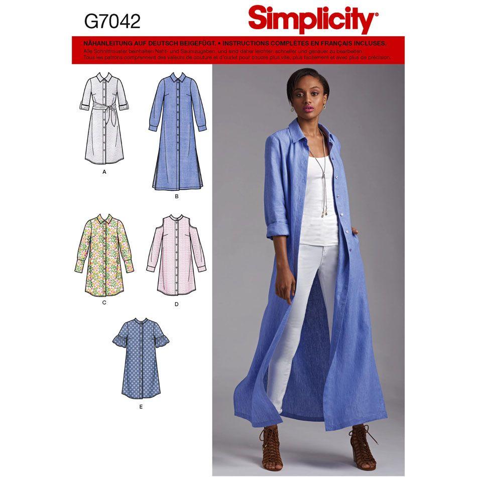 7042 Simplicity Schnittmuster Hemdblusenkleider