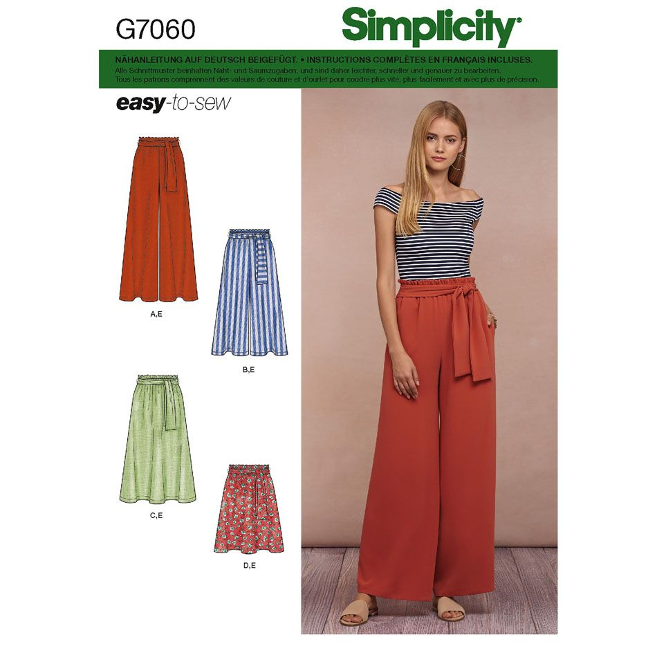 7060 Simplicity Schnittmuster Hose Rock EASY!
