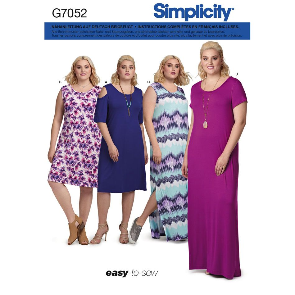 7052 Simplicity Schnittmuster Jerseykleid XL-5XL EASY!