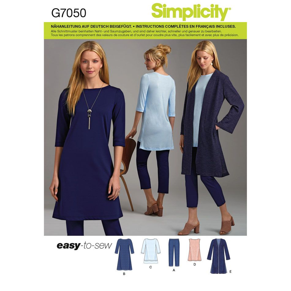 7050 Simplicity Schnittmuster Jerseykombination XS-XXL EASY!