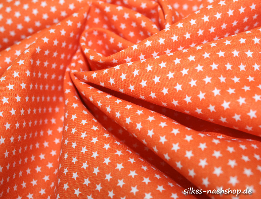 50cm Baumwollstoff MIX-IT STARS orange