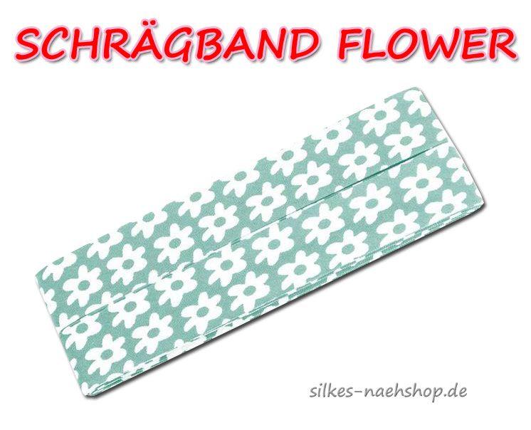 Schrägband Flower mint weiß