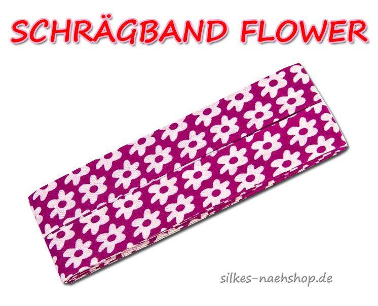 Schrägband Flower pink weiß