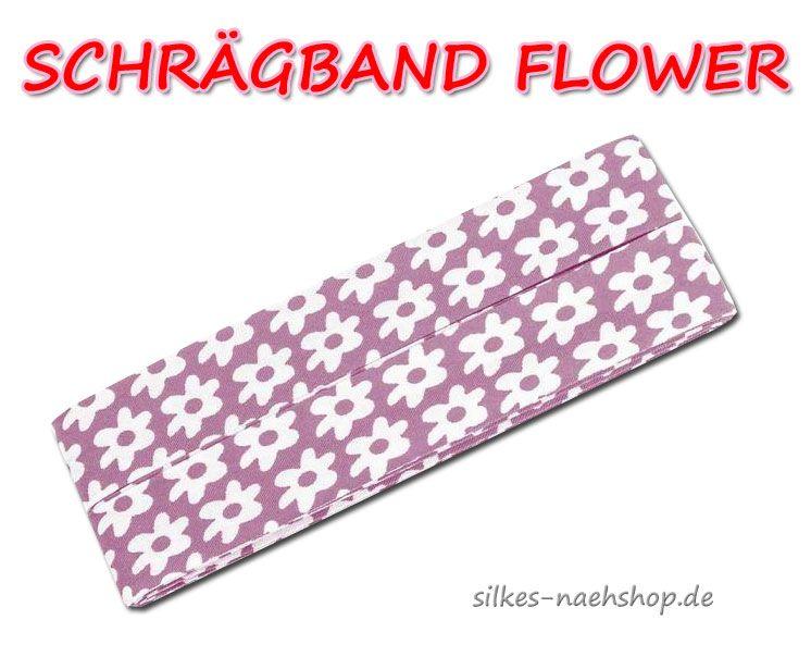 Schrägband Flower mauve weiß