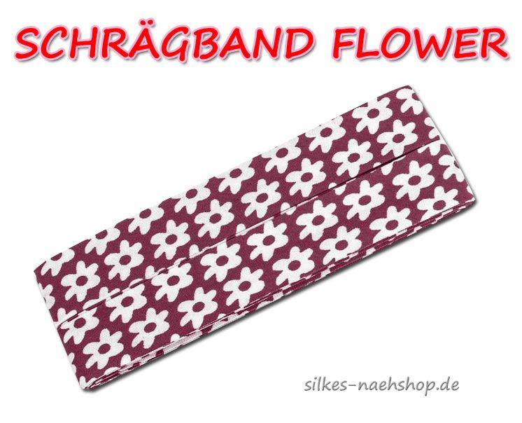 Schrägband Flower dunkelrot weiß